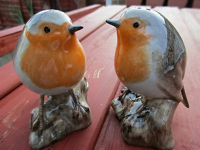 Robins Salt And Pepper Pots By Quail Pottery  Ideal Gift Boxed.