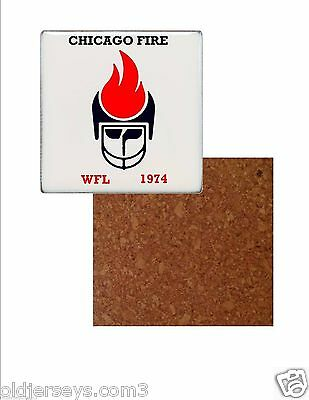 WFL Chicago Fire style 2 Tile Drink Coaster with Cork Back