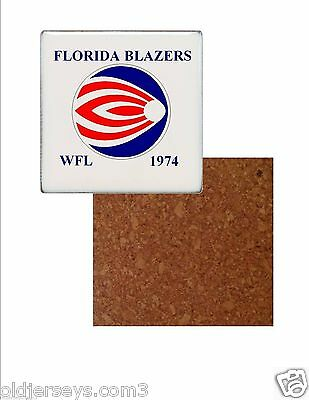 WFL Florida Blazers style 3 Tile Drink Coaster with Cork Back
