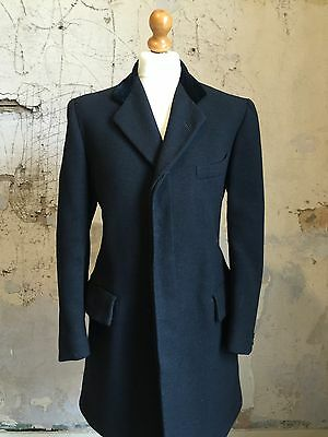 Mens Vintage 1920's Bespoke Grey Velvet Collared Overcoat Size 38