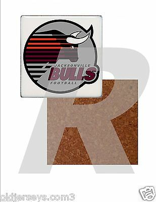 WFL Jacksonville Bulls style 2 Tile Drink Coaster with Cork Back