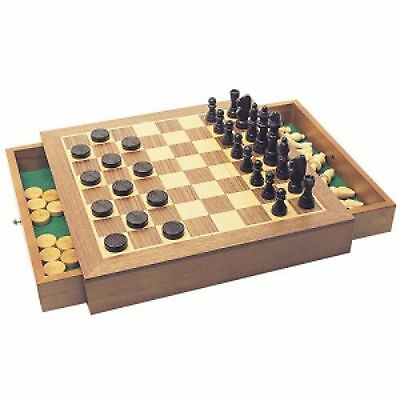 Deluxe Wooden Chess Draughts Checkers Pieces Set Board Game House of Marbles