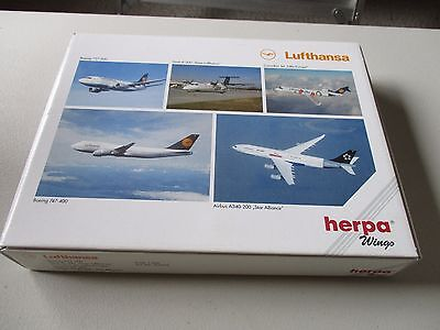 Herpa Wings  516679 Lufthansa 5 Model Plane set Exclusive for Lufthansa