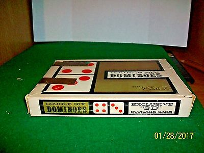 Vintage Crisloid Red Double Six Dominoes in Exclusive 3 D Storage Case in Box