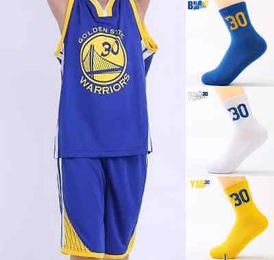Stephen Curry 30 Kids Youth Blue Basketball Jersey Set W/ Sock Golden State