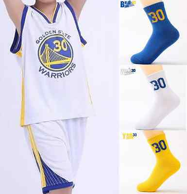 Stephen Curry 30 Kids Youth White Basketball Jersey Set W/ Sock Golden State