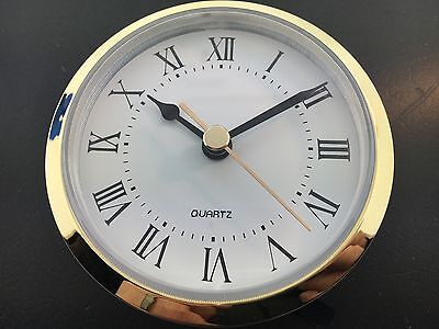 "Quartz Clock Battery Fit-Up Insert Roman Movement White 3 1/2"" fits a 3"" Hole"