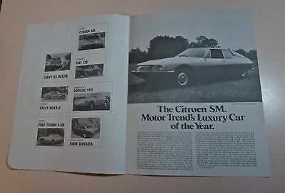 1972 Citroen SM/Motor Trend Seven Cars of The Year Brochure
