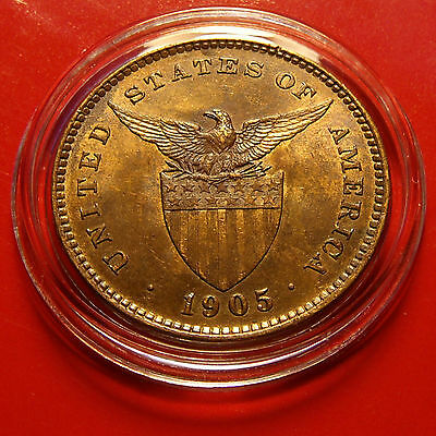 GEM BU Brilliant Uncirculated Red Brown Golden 1905 Philippine Centavo w HOLDER
