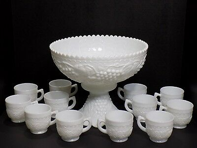 Vintage Large 14 Pc Imperial Milk Glass Pedestal Punch Bowl Set