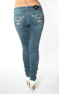 Miss Me Women's Tp5395S1 Studded Pockets Teal Slim Skinny Low Rise Jeans 24-32