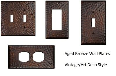 Wall Switch Plate Cover Hammered Vintage Aged Bronze Textured Outlet Toggle NEW