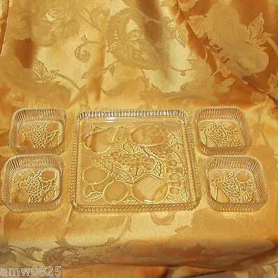 VINTAGE INDIANA SQUARE GLASS FRUITS SNACK SET 5 pc NAPPY CLEAR DEPRESSION GLASS