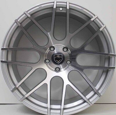 20inch GENUINE MADINA SILVER ALLOY WHEELS WIDE PACK SUIT FORD MUSTANG & FLACON