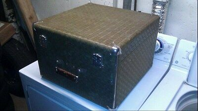 Antique tweed Wheary large vintage hat box.