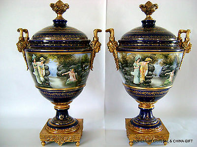 "24"" Pair Antique French Sevres Gilt Bronze Cobalt Hp Porcelain Urn Landscape 19C"