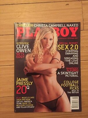 Playboy Magazine September 2007 Amanda Paige Christa Campbell Patrice Hollis VG