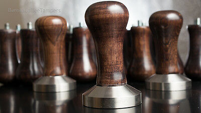 Coffee Tamper Wooden Handle - flat base for coffee shop, barista, Gaggia