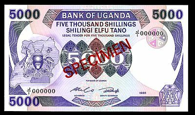 UGANDA P-24As   5000   SHILLINGS    (1985) *UNC* !!  SPECIMEN !!