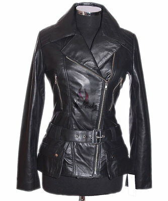 Diaz Ladies Leather Jacket Black Waxed Military Retro Real Soft Lambskin Leather