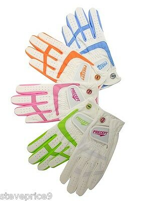 New Precept Ladies Lady Performance Golf Glove. Large. White /pink