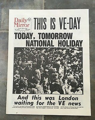 Daily Mirror Newspaper May 8th 1945 VE Day Headlines - Official Reprint
