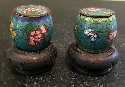 Asian Motif Mini Porcelain Jar ~ Lidded with Carved Wood Stand ~ Pair