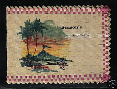 Frank Ernst Family  Woven Straw Christmas Greeting Card. Palm Trees, Canoe