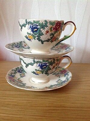 ROYAL CAULDON 'Victoria' Cup & Saucer Duo x 2, Very Good Vintage Condition