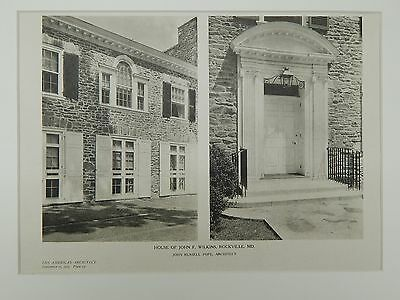 Exterior, House of John F. Wilkins, Rockville, MD, 1925, Lithograph