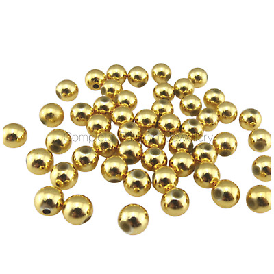 3mm 4mm 5mm 6mm 8mm 10mm ELECTROPLATE GOLD ROUND ACRYLIC BEADS JEWELLERY MAKING