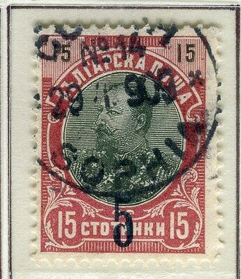 BULGARIA;  1909 early surcharged issue fine used 5/15s. value
