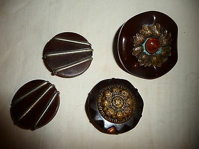 #1/16B SEWING BUTTONS Mixed Lot of 4 COAT buttons bakelite ? plastic ? w metal