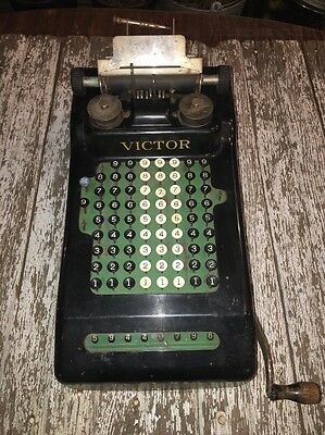Vintage Victor Adding Machine Hand Crank Manual Calculator Antique