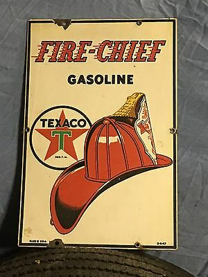 ORIGINAL VIinTaGE 1947 TEXACO FIRE CHIEF Pump Plate PORCELAIN SSP Sign Gas Oil