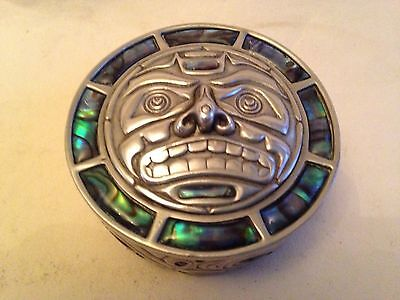 Vintage Mexican Metal Inlay Pill Box