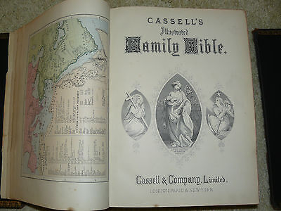 Antique Cassell's Illustrated Family Bible Circa 1880's Leather/brass bound