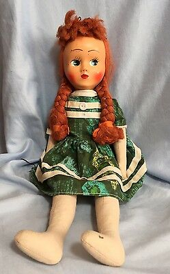 Vintage Polish Cloth Doll with Red Braids and Jointed Arms & Legs