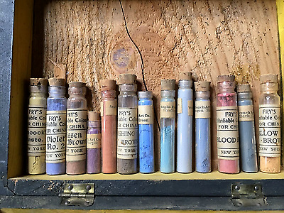 Antique Fry's Vitrifiable China Color Paints for ceramics- Lot of 26