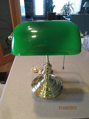 Vintage Bankers Brass Desk Lamp W/ Emerald Green Glass Shade