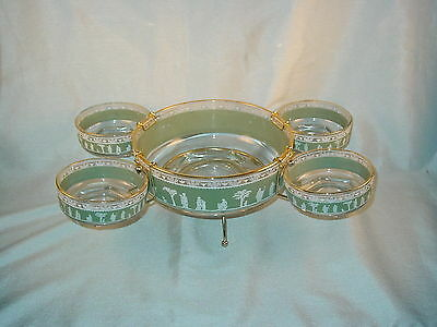 Jeannette Wedgewood Hellenic Green Serving Snack Set Bowls With Stand