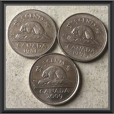 1981-1998-2009  Canada five cents Canadian nickels Coins #235