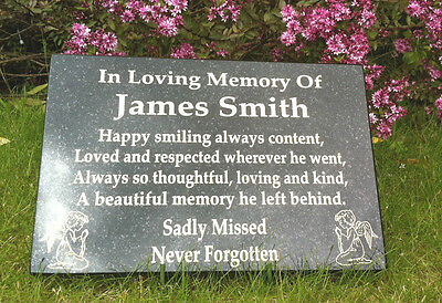 Grave Marker, Memorial Stone, Funeral Stone Plaque Personalised Grave Stone