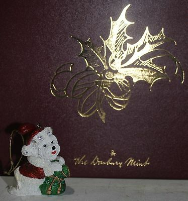 Danbury Mint Bichon Frise Ornament Collection Santa's Helper