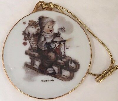 "HUMMEL Christmas Holiday Porcelain Ornament ""WINTER FUN"" 2 1/2"" round w/box"
