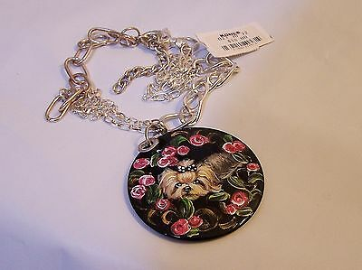hand painted Yorkie black enamel and silver tone chain extension necklace