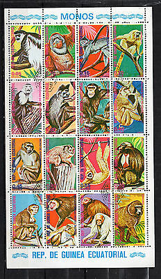 Equatorial Guinea : 1975 Monkeys & Apes Minisheet ( used )