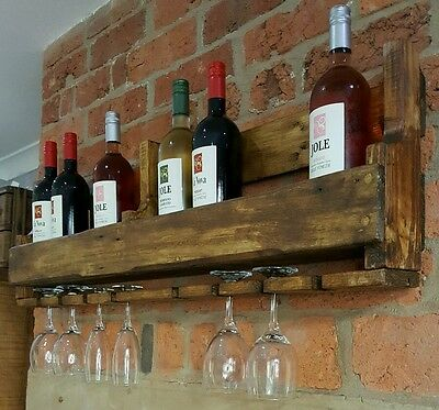 Large rustic reclaimed pallet wood wine prosecco rack bespoke kitchen unit