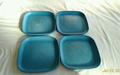 """Tupperware 8"""" Square Blue Luncheon Plates Set of 4 Lot"""