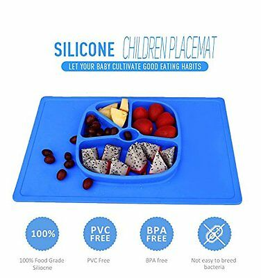 LAIMALA One-piece Silicone Placemat Food Tray for Baby Toddlers, Non-slip with 5